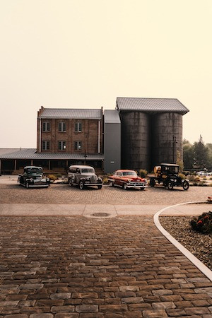Bently Heritage Classic Cars in front of Mill Building