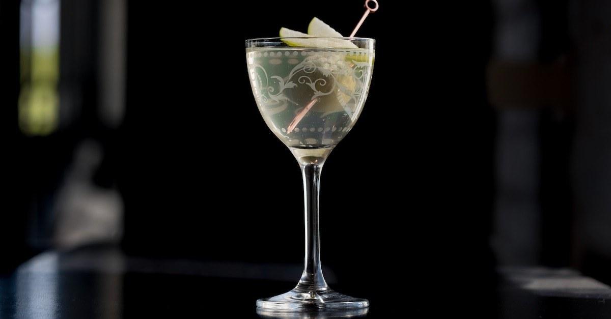 Source One Vodka Martini with Stuffed Olive